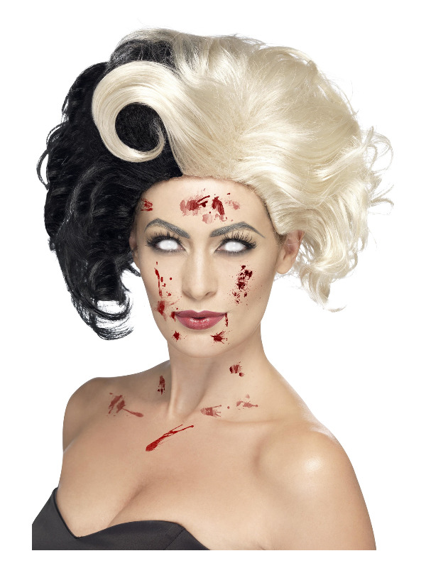 Deluxe Evil Madame Wig, Black & Blonde
