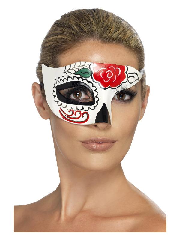 Day of the Dead Half Eye Mask, White