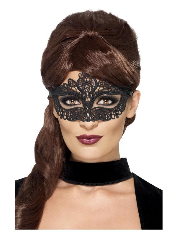 Embroidered Lace Filigree Eyemask, Black