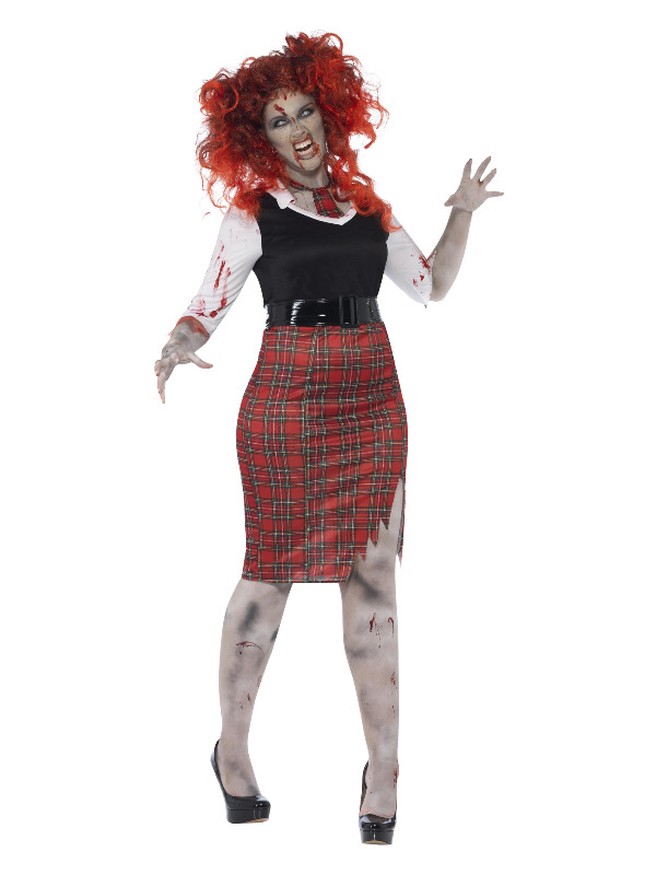 Curves Zombie School Girl Costume, Black
