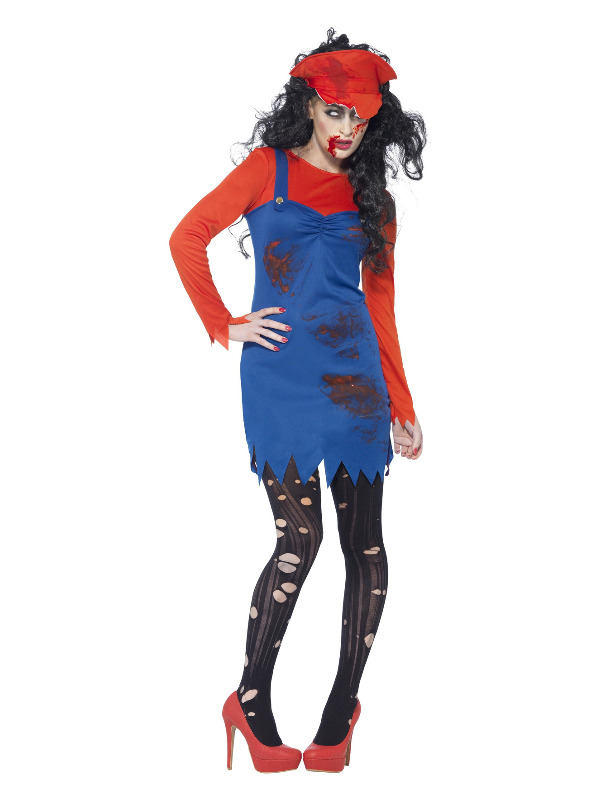 Zombie Plumber Female Costume, Red