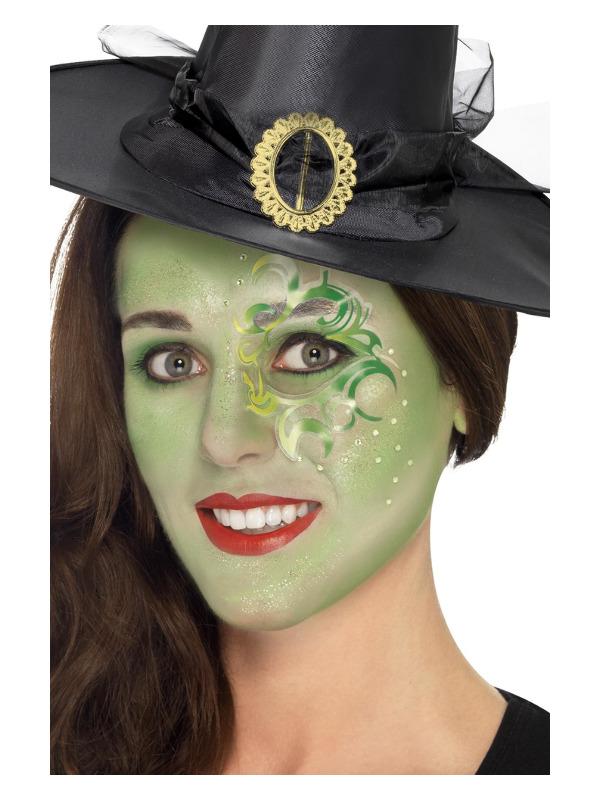 Smiffys Make-Up FX, Pretty Witch Kit, Aqua, Green, Sticker, Gems, Lipstick, Glitter Gel, Crayon & Applicators