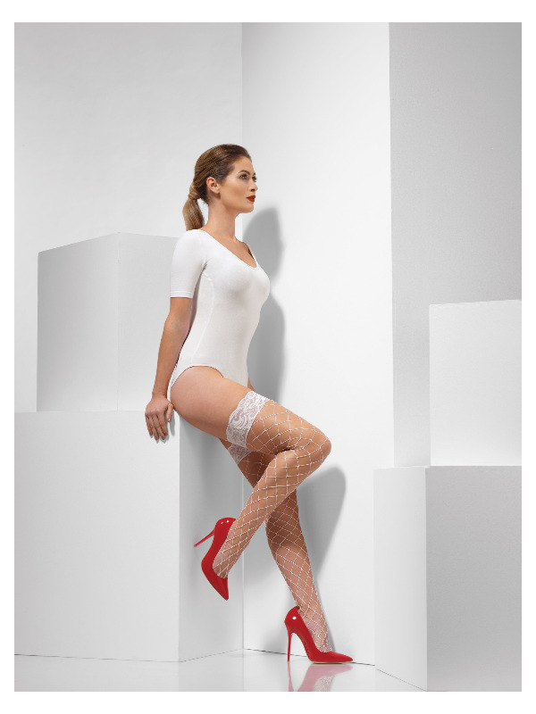 Diamond Net Hold-Ups, White, Lace Tops with Silicone