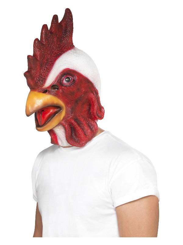 Chicken Mask, White, Full Overhead, Latex
