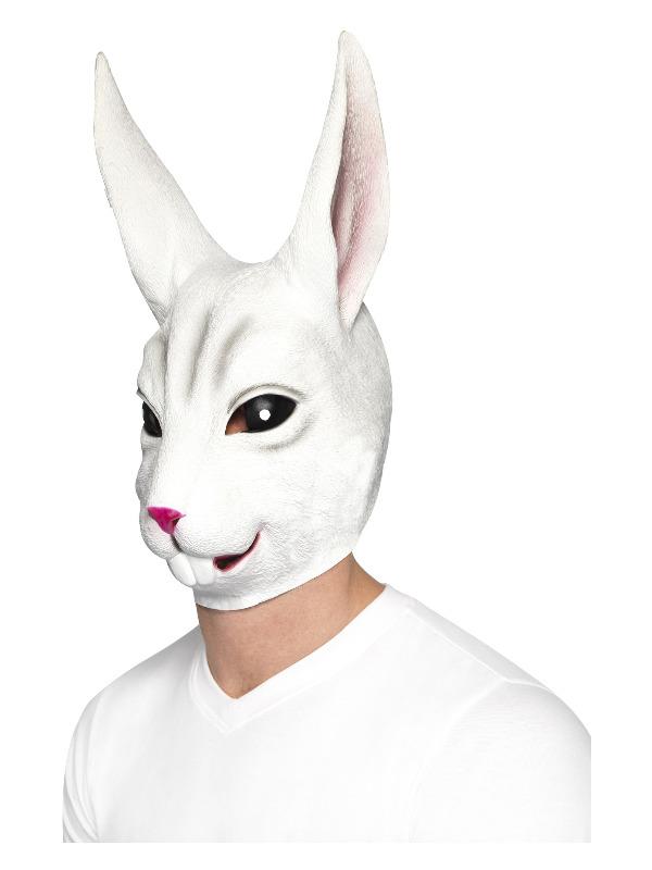 Rabbit Mask, White, Full Overhead, Latex