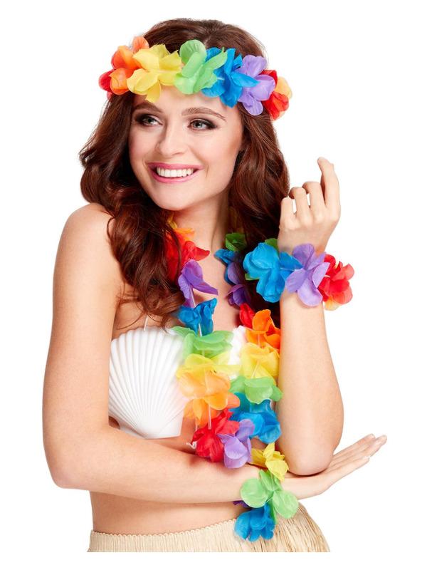 Rainbow Hawaiian Set, Multi-Coloured, with Garland, Headband & Wristband