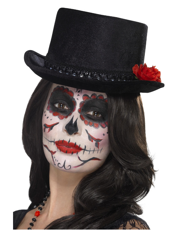 Day of the Dead Top Hat, Black, with Roses