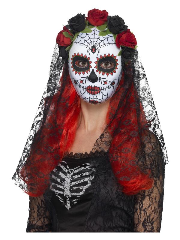 Day of the Dead Senorita Mask, Full Face, Red & Black, with Roses & Veil