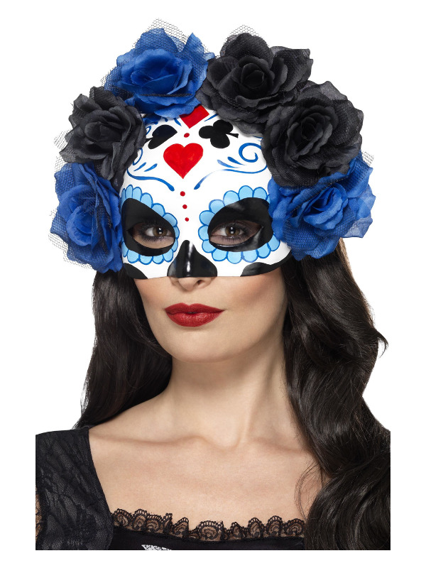 Day of the Dead Eyemask, Blue, with Roses