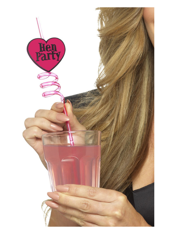 Hen Party Drinking Straws, Pink, 6 Pack