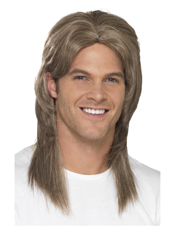 Deluxe Mullet Wig, Brown, Heat Resistant/Styleable, with Blonde Highlights