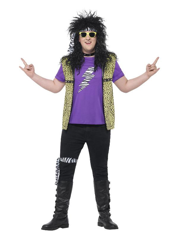 Curves 80s Rock Star Costume, Multi-Coloured