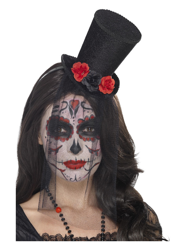 Day of the Dead Mini Top Hat, Black, on Headband, with Roses & Detachable Lace Veil