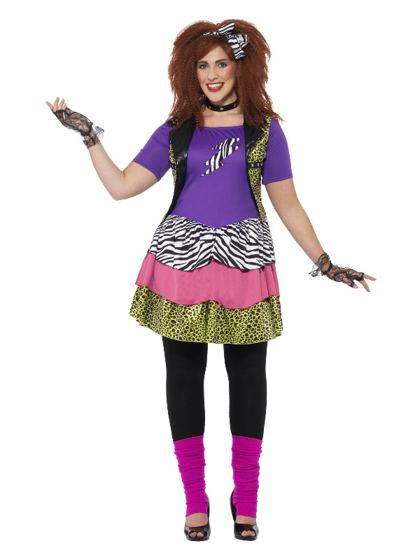 Curves 80s Rock Chick Costume, Multi-Coloured