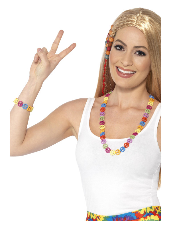 Hippie Peace Sign Set, Multi-Coloured, with CND Necklace & Bracelet