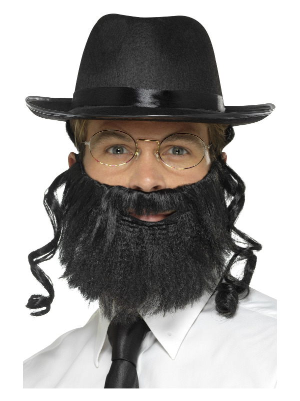 Rabbi Kit, Black, with Hat, Attached Hair, Beard & Glasses