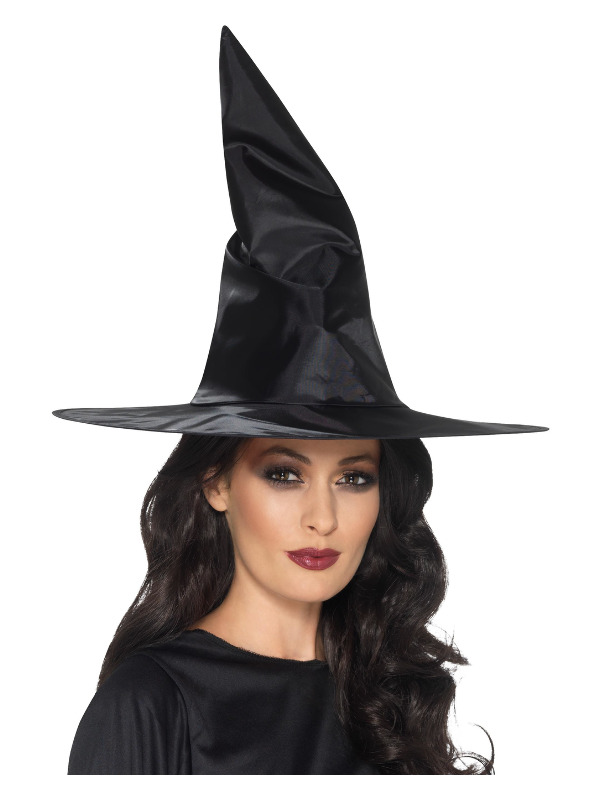 Witch Hat, Black, Shiny Fabric, Wired
