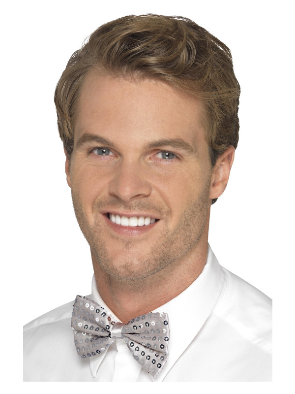 Sequin Bow Tie, Silver