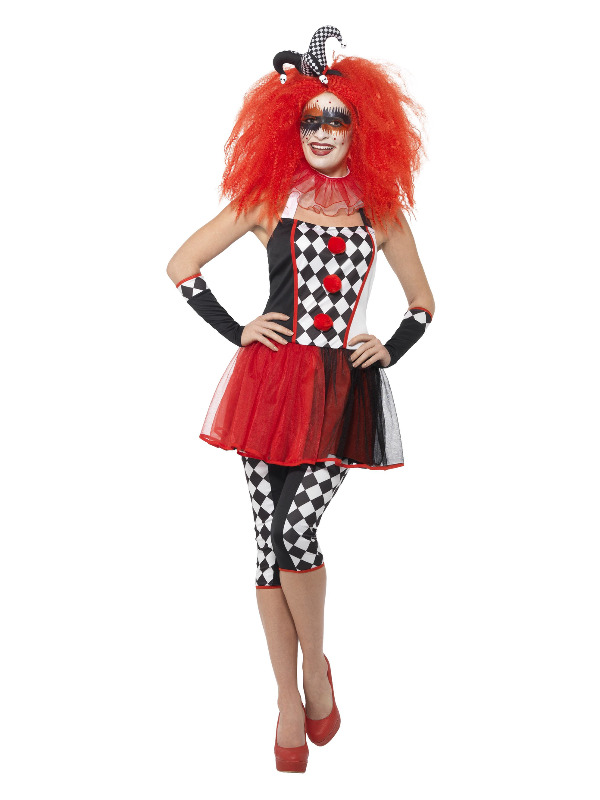Twisted Harlequin Costume, Black & Red