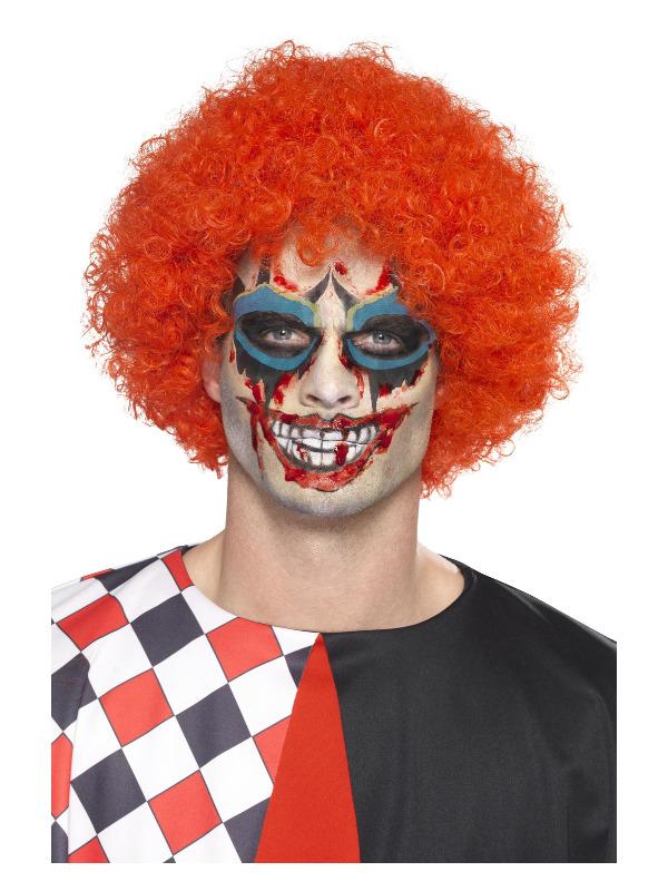 Smiffys Make-Up FX, Twisted Clown Kit, Aqua, Multi-Coloured, Tattoo Transfers, Face Paints, Blood & Applicators