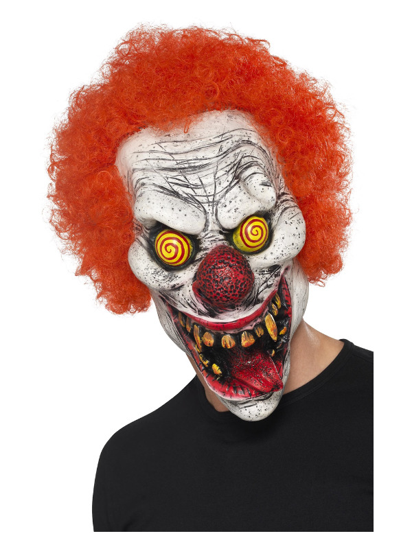 Twisted Clown Mask, Red, Latex, Full Overhead