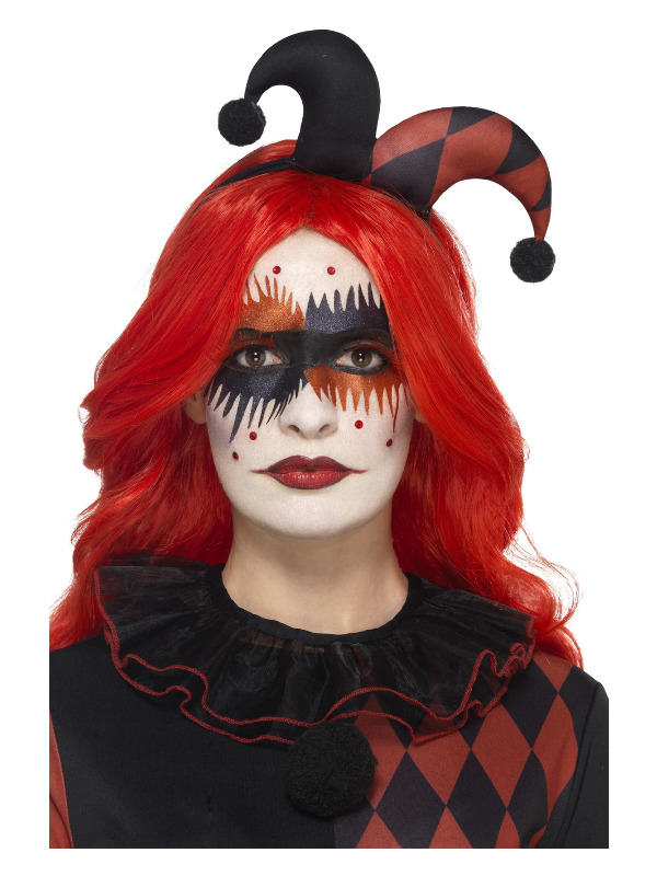 Smiffys Make-Up FX, Harlequin Kit, Aqua, Red, Stickers, Lashes, Gems, Face Paints & Applicator