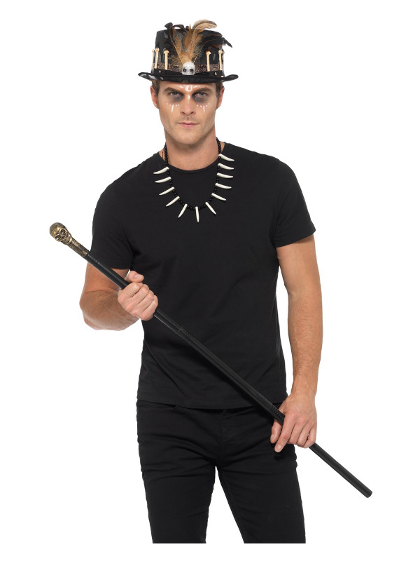 Voodoo Kit, Black, with Feather Top Hat, Detachable Skull Cane & Bone Necklace