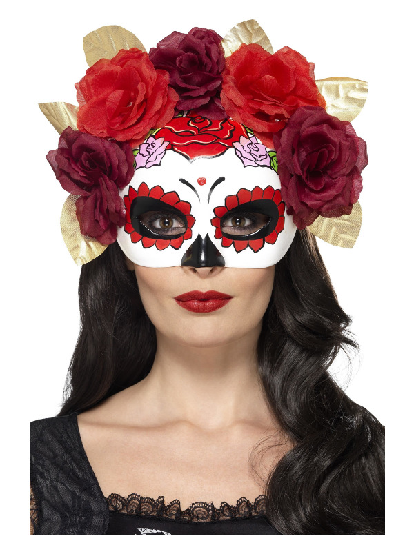 Day of the Dead Rose Eyemask, Red