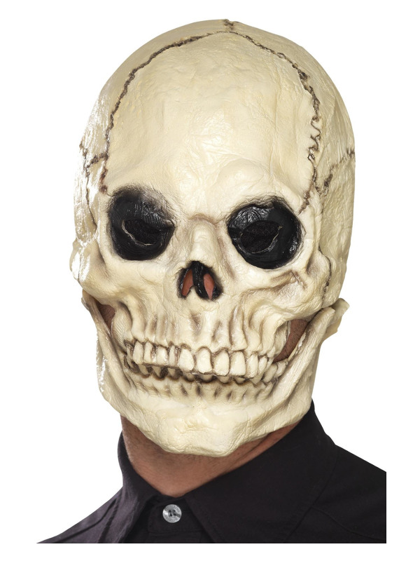 Skull Mask, White, Foam Latex, Full Overhead, with Separate Moving Jaw