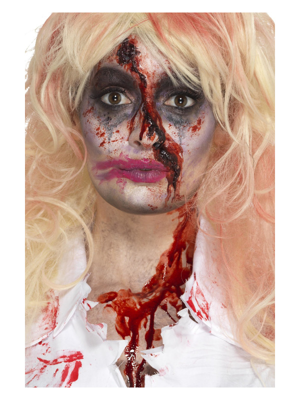 Smiffys Make-Up FX, Zombie Nurse Kit, Aqua, Multi-Coloured, with Face Paints, Blood, Hat & Applicators