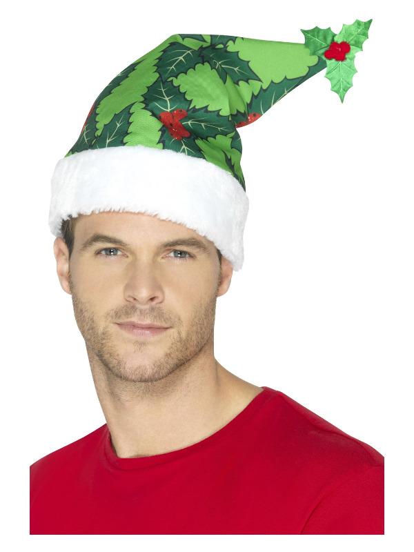 Holly Berry Santa Hat, Green