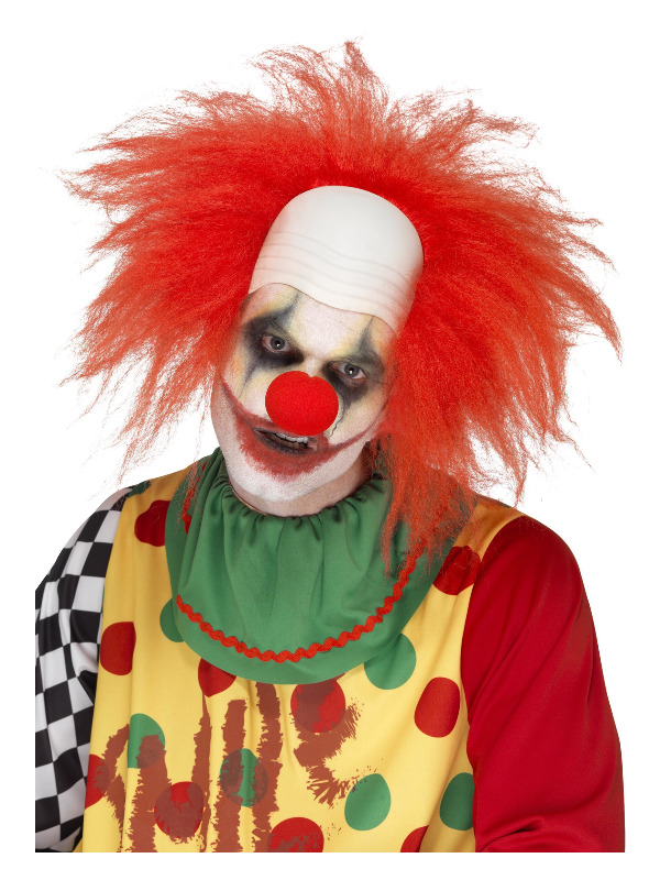Deluxe Clown Wig, Red, with Bald Head