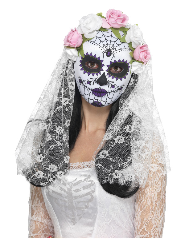 Day of the Dead Bride Mask, Full Face, White, with Roses & Veil