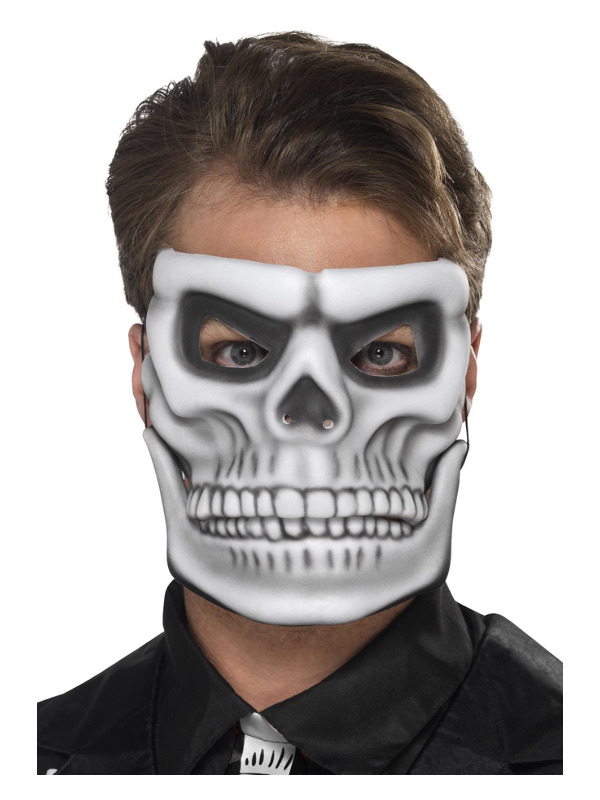 Day of the Dead Skeleton Mask, White, with Separate Moving Jaw