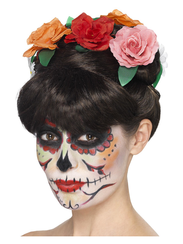 Day of the Dead Frida Wig, Black, with Plaits & Flowers