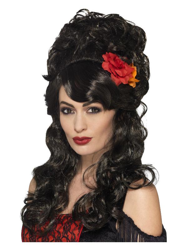 Senorita Wig, Black & Brown, with Roses