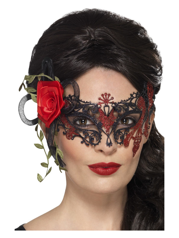 Day of the Dead Metal Filigree Eyemask, Black, with Roses