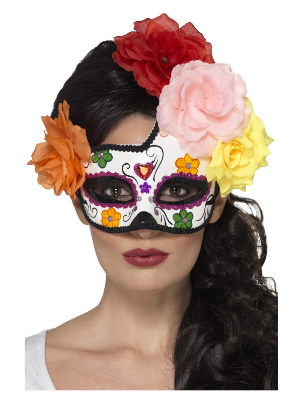 Day of the Dead Crescent Eyemask, Multi-Coloured, with Roses
