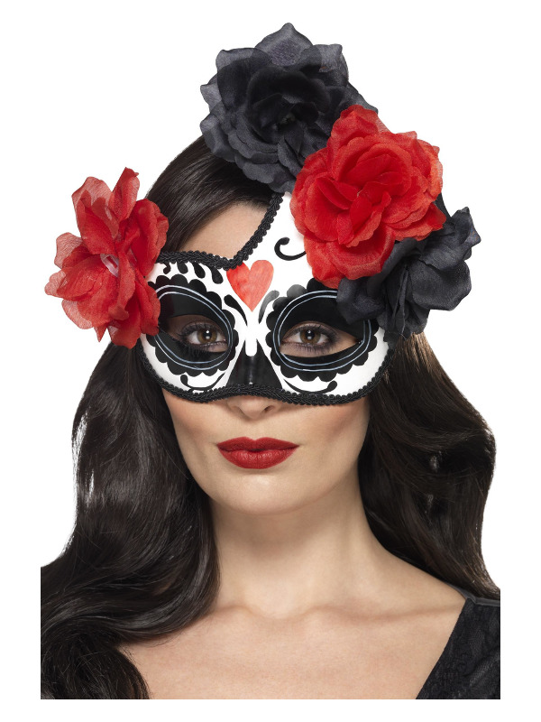 Day of the Dead Crescent Eyemask, Black & Red, with Roses