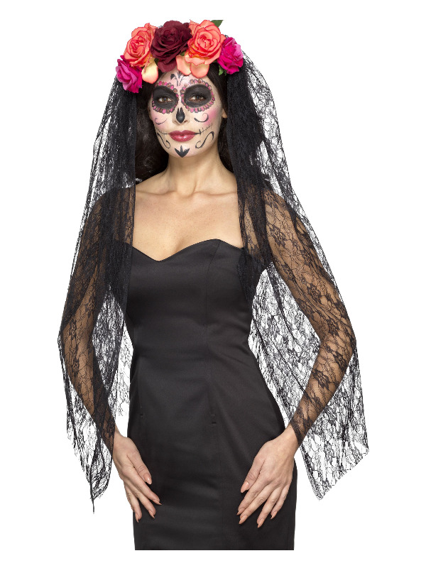 Deluxe Day of the Dead Headband, Red & Black, with Roses & Veil