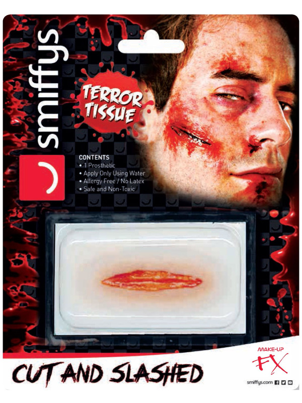 Smiffys Make-Up FX, Horror Transfer, Cut & Slashed Wound, Red, Water Based, Allergy & Latex Free