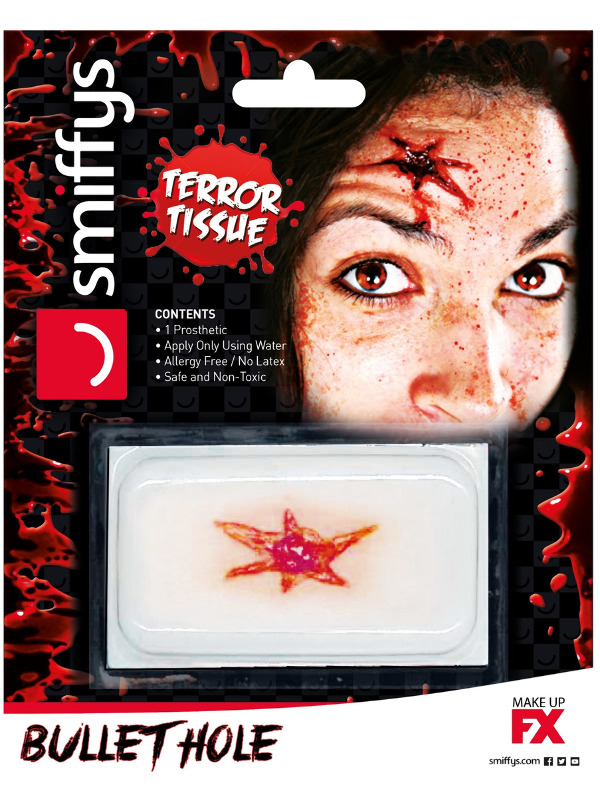 Smiffys Make-Up FX, Horror Transfer, Bullet Hole Wound, Red, Water Based, Allergy & Latex Free