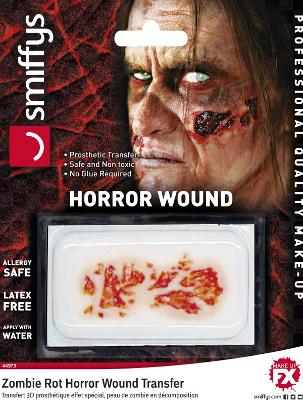 Smiffys Make-Up FX, Horror Transfer, Zombie Rot, Red, Water Based, Allergy & Latex Free