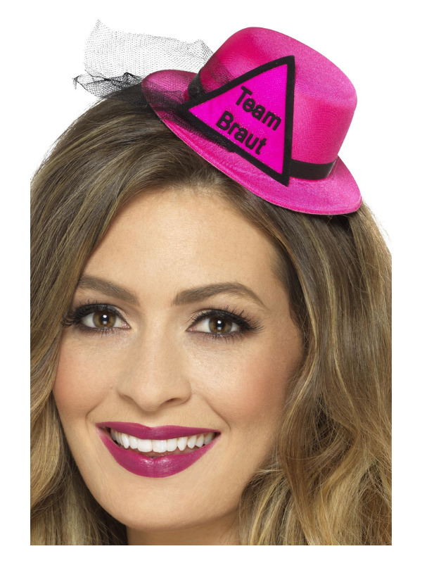 Team Braut Hat, Pink & Black, with Hairclip & Veil