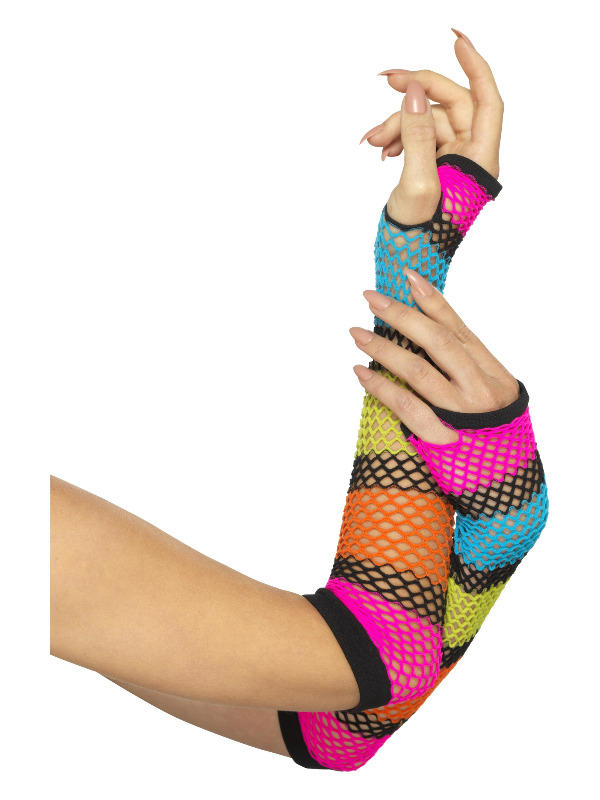 Fishnet Gloves, Long, Neon, with Black Stripe