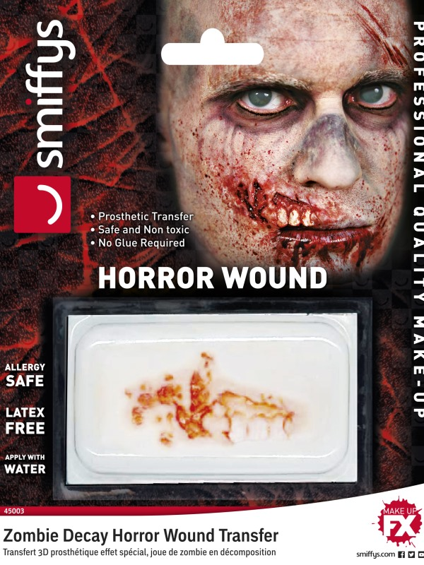 Horror Wound Transfer, Zombie Decay, Red, Water Based, Allergy & Latex Free