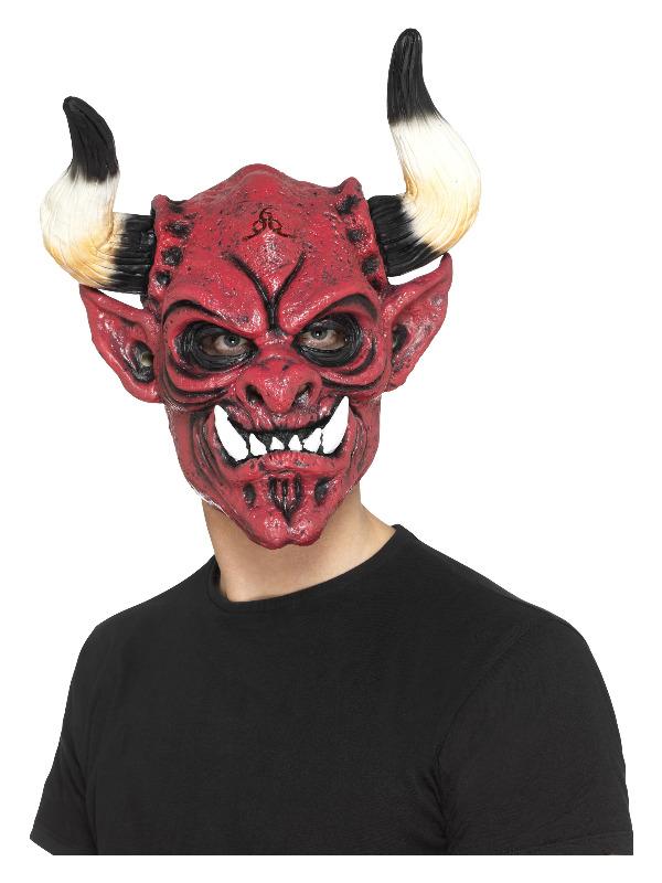 Devil Mask, Foam Latex, Multi-Coloured, Full Overhead