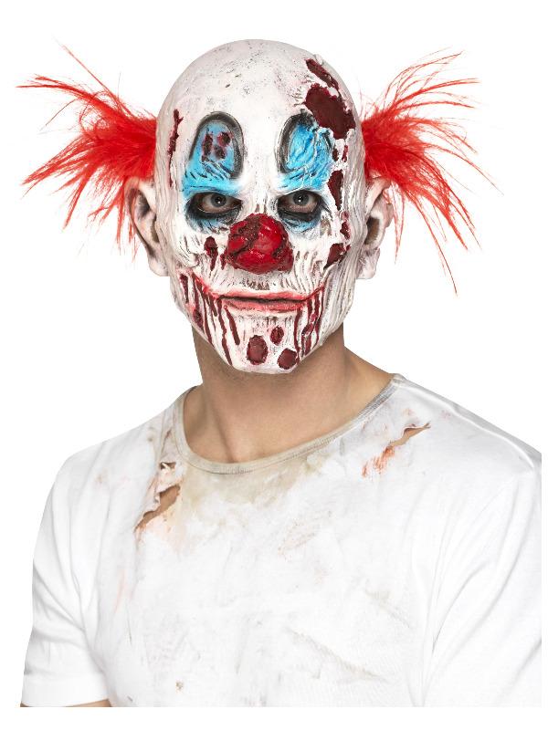 Zombie Clown Mask, Foam Latex, Multi-Coloured, Full Overhead with Hair