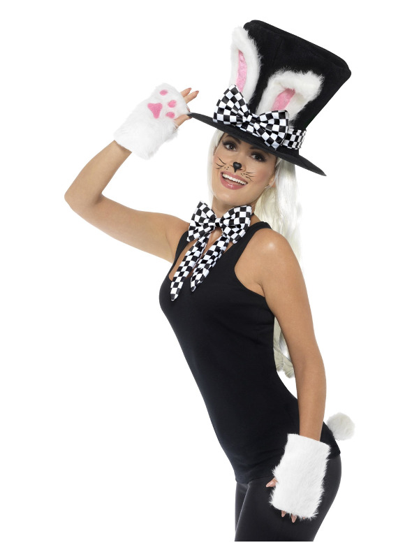Tea Party March Hare Kit, Black & White, Top Hat, Rabbit Ears, Gloves, Bow Tie & Tail