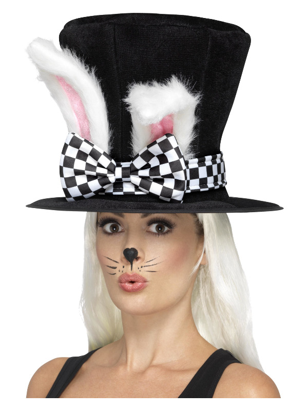 Tea Party March Hare Top Hat, Black & White, with Attached Rabbit Ears